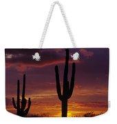 Silhouetted Saguaro Cactus Sunset  Arizona State Usa Weekender Tote Bag
