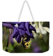 Silky Blue Columbine And A Busy Bee Weekender Tote Bag