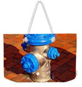 Silver And Blue Hydrant Weekender Tote Bag