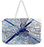 Silver And Blue Wrapped Gift Art Prints Weekender Tote Bag