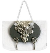 Silver Grapes On Grey Weekender Tote Bag