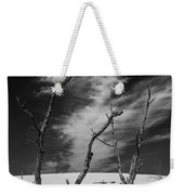 Silver Lake Dune With Dead Trees And Cirrus Clouds In Black And White Weekender Tote Bag
