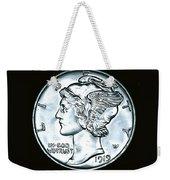 Black Silver Mercury Dime Weekender Tote Bag