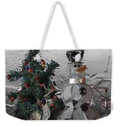 Silver Snowman With Christmas Tree Weekender Tote Bag