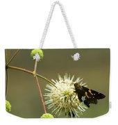 Silver-spotted Skipper On Buttonbush Flower Weekender Tote Bag