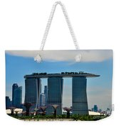 Singapore Skyline With Marina Bay Sands And Gardens By The Bay Supertrees Weekender Tote Bag