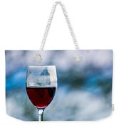 Single Glass Of Red Wine On Blue And White Background Weekender Tote Bag