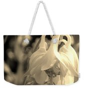 Single White Columbine Monochrome Weekender Tote Bag