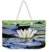 Single White Lotus Weekender Tote Bag