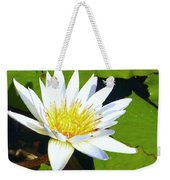 Single White Water Lily Weekender Tote Bag