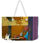 Sipping A Seven Up At Dagwoods Window Seat At The Sandwich Shop Montreal Summer Scene Carole Spandau Weekender Tote Bag