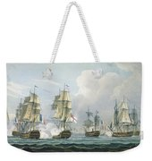 Sir Richard Strachans Action After The Battle Of Trafalgar Weekender Tote Bag by Thomas Whitcombe