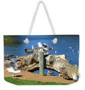 Sitting On A Log In The Bay Weekender Tote Bag