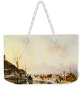 Skaters By A Booth On A Frozen River Weekender Tote Bag
