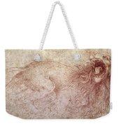 Sketch Of A Roaring Lion Weekender Tote Bag by Leonardo Da Vinci