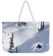 Skier Hitting Powder Below Nak Peak Weekender Tote Bag
