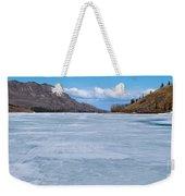 Skiing On Frozen Lake Laberge Yukon Canada Weekender Tote Bag