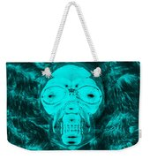Skull In Negative Turquois Weekender Tote Bag