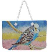 Sky Blue Budgie Weekender Tote Bag