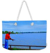 Sky Blue Calm Waters Fisherman On The Pier  Lachine Canal Montreal Summer Scenes Carole Spandau Weekender Tote Bag