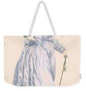 Sky Blue Promenade Dress With Green Weekender Tote Bag