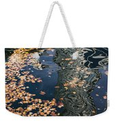 Skyscrapers' Reflections And Fallen Autumn Leaves Weekender Tote Bag