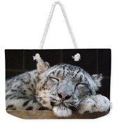 Sleeping Snow Leopard Weekender Tote Bag