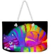 Sleepy Colorful Cat Weekender Tote Bag