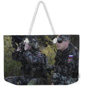 Slovenian Soldiers Watch For Simulated Weekender Tote Bag