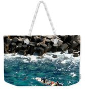 Small Boat Off Nassau Shore Weekender Tote Bag