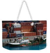 Small Boat With Cargo Containers Weekender Tote Bag