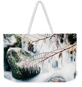 Small Creek Freezing Up Forming Icicles Weekender Tote Bag