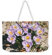 Small Crocus Flower Field Weekender Tote Bag