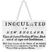 Smallpox: Title Page, 1726 Weekender Tote Bag
