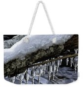 Snow And Icicles Merry Christmas Card Weekender Tote Bag