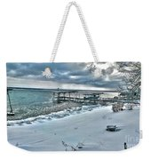 Snow Beach Weekender Tote Bag