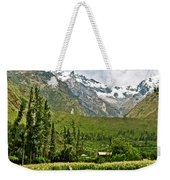 Snow-capped Andes Mountains With Snowline Above 17000 Feet-peru Weekender Tote Bag