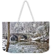 Snow Coming Down On The Wissahickon Creek Weekender Tote Bag