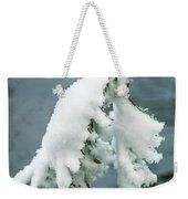 Snow Covered Pine Tree Branch Weekender Tote Bag