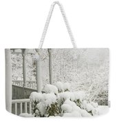 Snow Covered Porch Weekender Tote Bag
