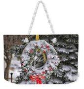Snow Covered Wreath Weekender Tote Bag