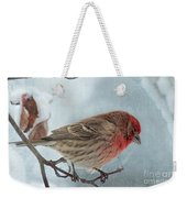 Snow Day Housefinch With Texture Weekender Tote Bag