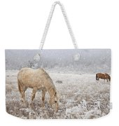 Snow Falling On Horses Weekender Tote Bag