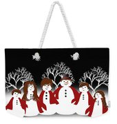 Snow Family 2 Square Weekender Tote Bag
