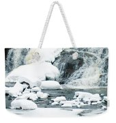 Snow Formations At Bottom Of Bond Falls Weekender Tote Bag
