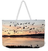 Snow Geese At Chincoteague Last Flight Of The Day Weekender Tote Bag