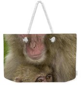 Snow Monkeys, Mother With Baby, Japan Weekender Tote Bag by John Shaw