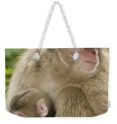 Snow Monkeys, Mother With Her Baby Weekender Tote Bag