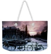 Snow On Canals. Amsterdam, Holland Weekender Tote Bag