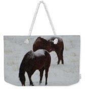 Snow On Horses Weekender Tote Bag